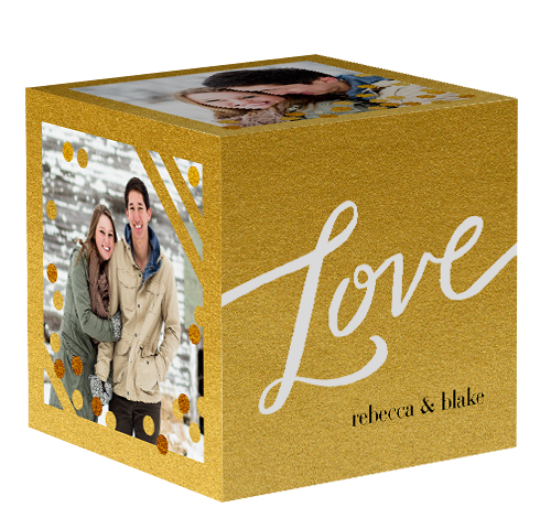 Golden Love Photo Cube