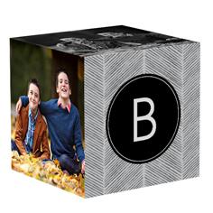 family herringbone photo cube