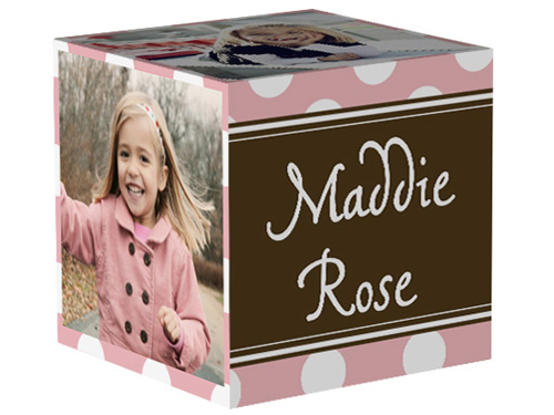 Dotted Rose Photo Cube