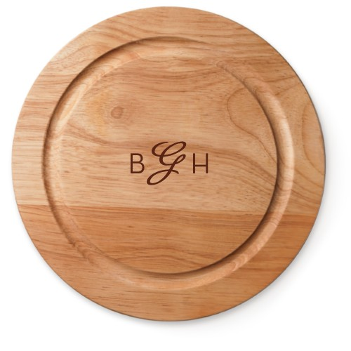 Three Letter Script Monogram Cutting Board, Rubber, Round Cutting Board, NONE, White