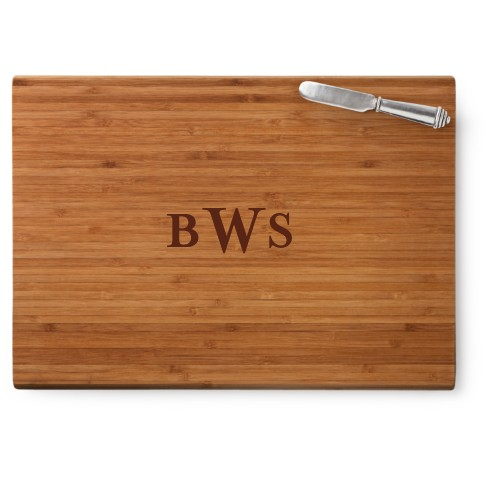 Three Letter Monogram Cutting Board, Bamboo, Rectangle Cutting Board, With Cheese Knife, White