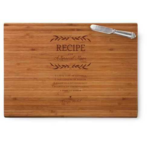 Special Recipe Cutting Board, Bamboo, Rectangle Cutting Board, With Cheese Knife, White