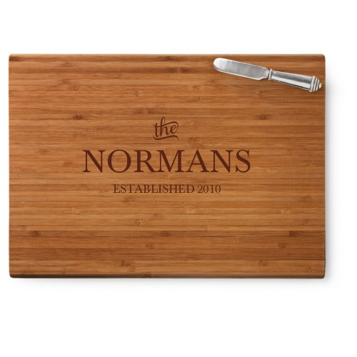 Stately Name Cutting Board, Bamboo, Rectangle Cutting Board, With Cheese Knife, White