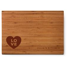 corner stacked love cutting board
