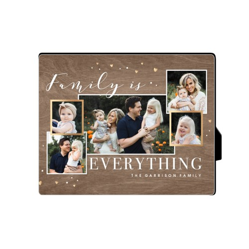 Family Overlap Collage Desktop Plaque, Rectangle, 8 x 10 inches, Brown