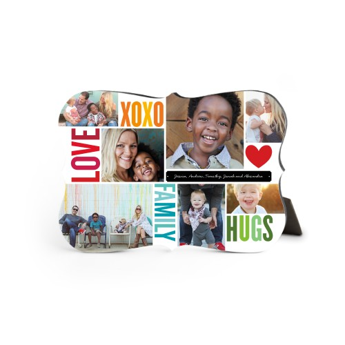 Family Love Hugs Desktop Plaque, Bracket, 5 x 7 inches, Red