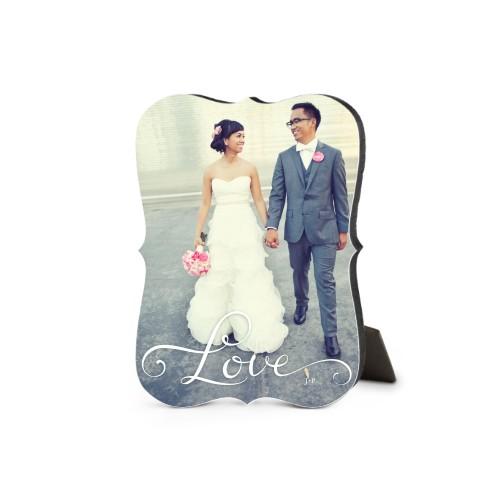 Hand-Lettered Love Desktop Plaque, Bracket, 5 x 7 inches, White