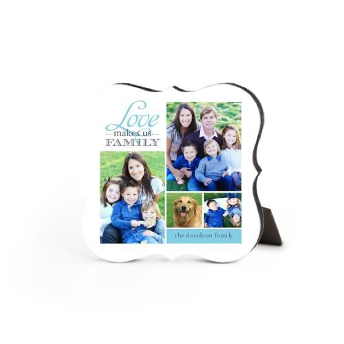 Love Makes Us Family Desktop Plaque, Bracket, 5 x 5 inches, Blue