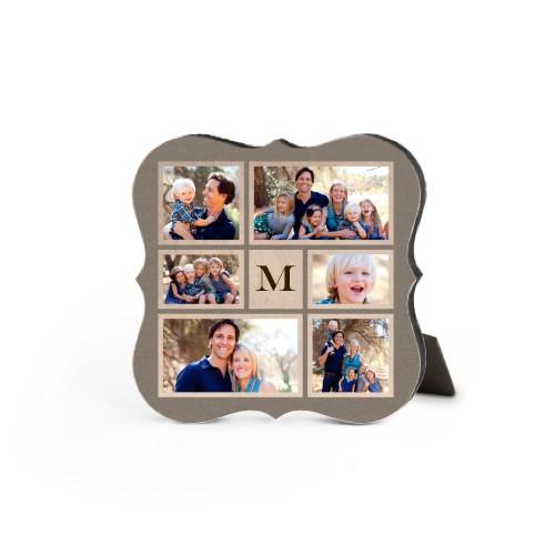 Collage Monogram Desktop Plaque, Bracket, 5 x 5 inches, Brown