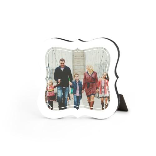 Fancy Frame Desktop Plaque, Bracket, 5 x 5 inches, White
