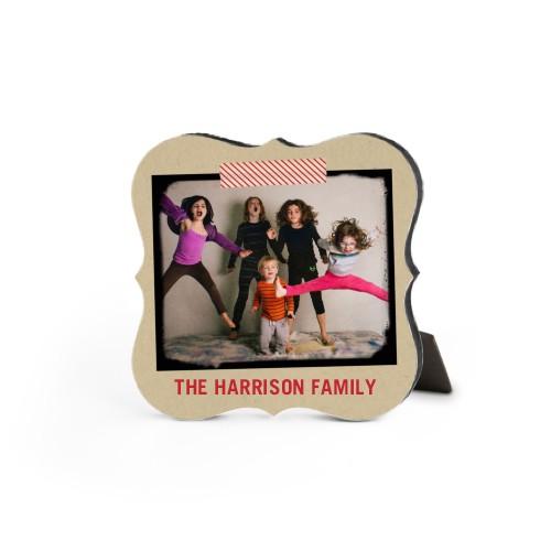 Washi Tape Frame Desktop Plaque, Bracket, 5 x 5 inches, Beige