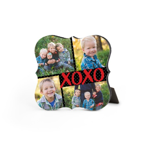 Kisses And Hugs Desktop Plaque, Bracket, 5 x 5 inches, Black