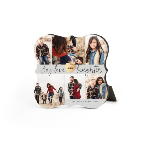 Joy Love Laughter Desktop Plaque, Bracket, 5 x 5 inches, Grey