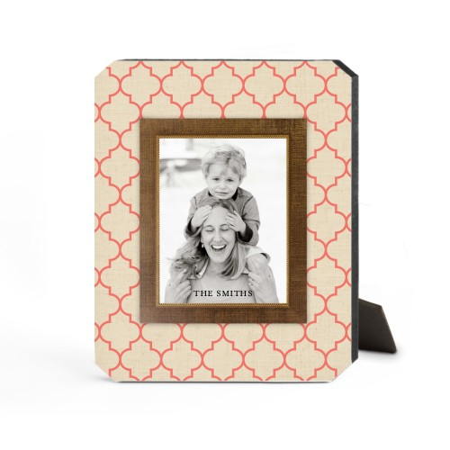 Quatrefoil Frame Desktop Plaque, Ticket, 8 x 10 inches, Beige