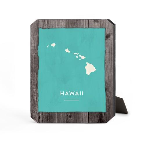 Hawaii State Art Desktop Plaque, Ticket, 8 x 10 inches, Brown