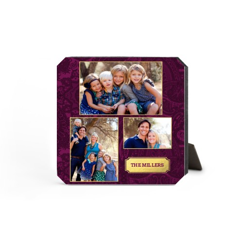 Paisley Family Badge Desktop Plaque, Ticket, 5 x 5 inches, Purple