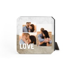 wooden marble love desktop plaque
