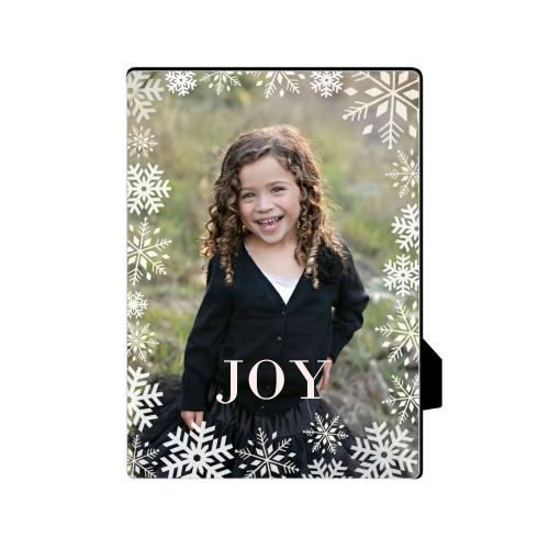 Bokeh Snowflakes Desktop Plaque, Rectangle, 5 x 7 inches, White