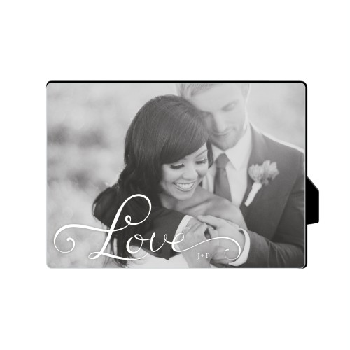 Hand-Lettered Love Horizontal Desktop Plaque, Rectangle, 5 x 7 inches, White
