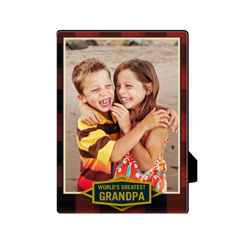 Greatest Grandpa Plaid Desktop Plaque