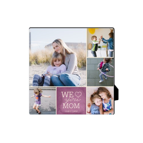 We Heart Mom Desktop Plaque, Rectangle, 5 x 5 inches, Purple