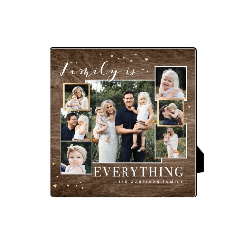 Family Overlap Collage Desktop Plaque, Rectangle, 5 x 5 inches, Brown
