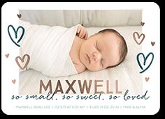 drawn hearts boy birth announcement