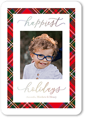 merry plaid frame holiday card