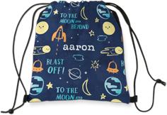 moon and stars blast off drawstring backpack