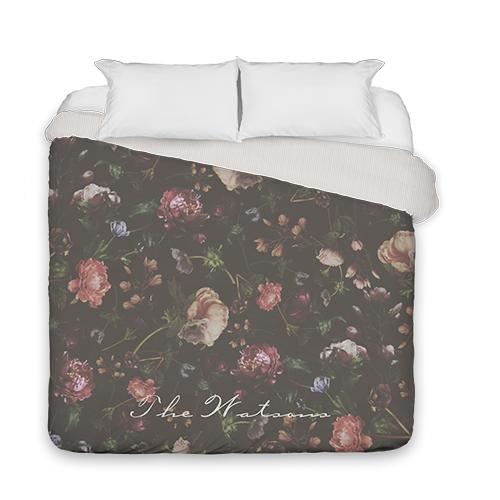 Dark Floral Duvet Cover, Duvet, Duvet Cover w/ Taupe Ticking Stripe Back, King, Black