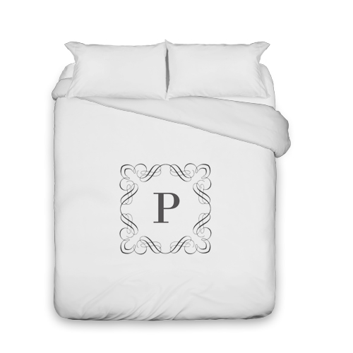 Stylized Border Monogram Duvet Cover, Duvet, Duvet Cover w/ White Back, Queen, DynamicColor