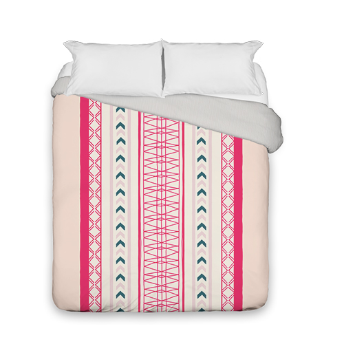 Boho Duvet Cover, Duvet, Duvet Cover w/ Taupe Ticking Stripe Back, Queen, Pink