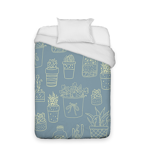 Blue and Green Succulents Duvet Cover, Duvet, Duvet Cover w/ White Back, Twin, Multicolor