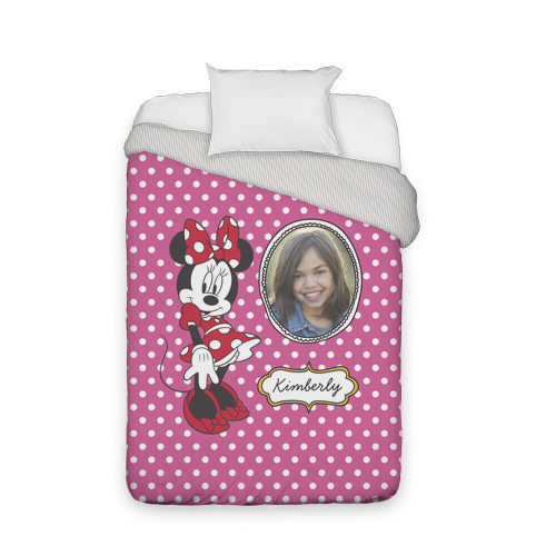 Disney Minnie Mouse Duvet Cover, Duvet, Duvet Cover w/ Taupe Ticking Stripe Back, Twin, Pink