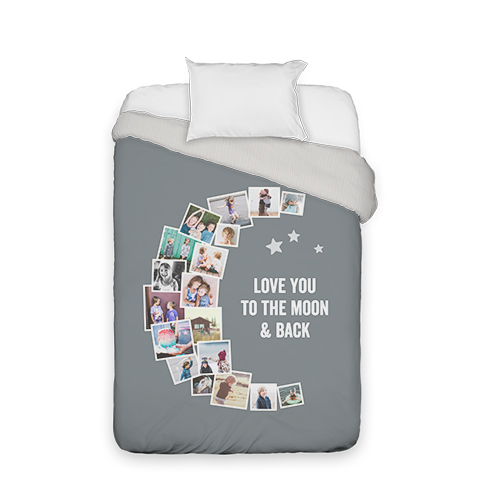 To The Moon Collage Duvet Cover, Duvet, Duvet Cover w/ Taupe Ticking Stripe Back, Twin, ...
