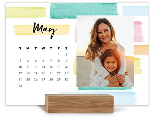 colorful brushstrokes easel calendar
