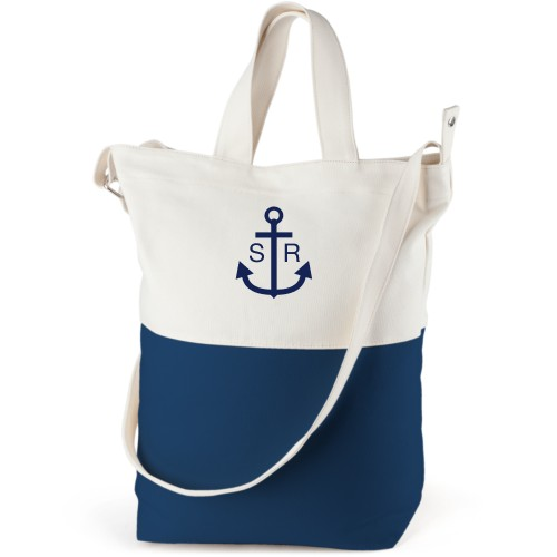 Anchors Away Canvas Tote Bag, Navy, Bucket tote, White