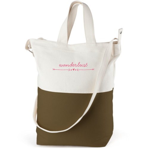Wanderlust Canvas Tote Bag, Army Green, Bucket tote, White