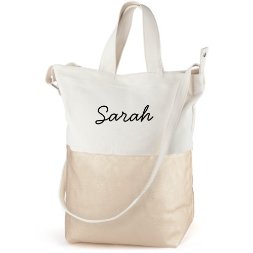 Make It Yours Canvas Tote Bag, Metallic Gold, Bucket tote, White