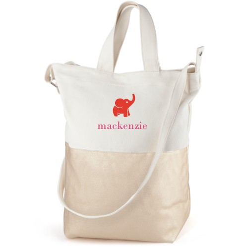 Elephant Girl Canvas Tote Bag, Metallic Gold, Bucket tote, White