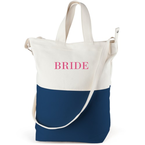 Bride Canvas Tote Bag, Navy, Bucket tote, White