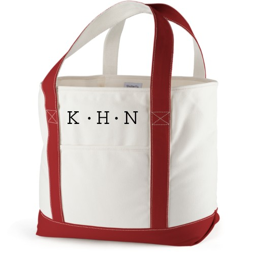 Dotted Monogram Canvas Tote Bag, Red, Large tote, White
