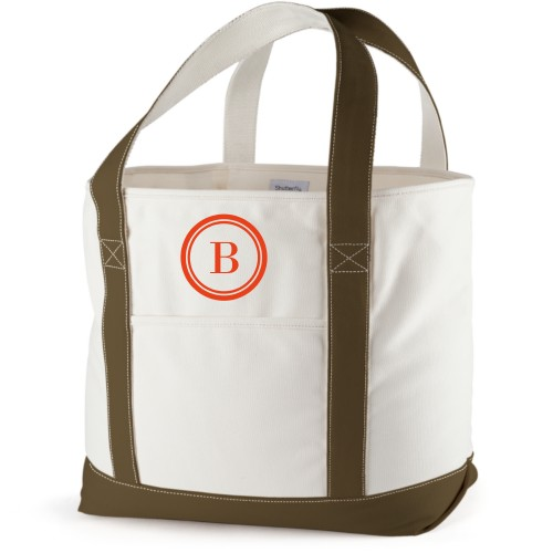 Circle Frame Canvas Tote Bag, Army Green, Large tote, White