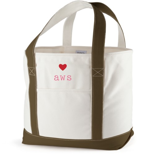 Perfect Pair Heart Canvas Tote Bag, Army Green, Large tote, White