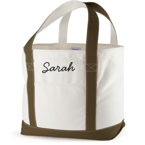 Make It Yours Canvas Tote Bag, Army Green, Large tote, White