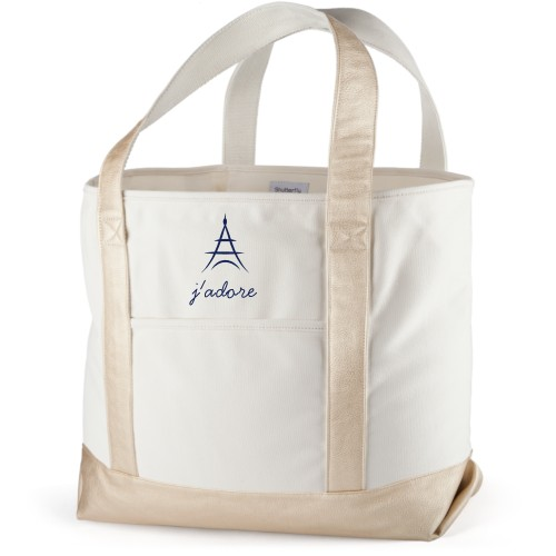 Paris Canvas Tote Bag, Metallic Gold, Large tote, White