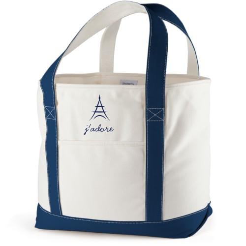 Paris Canvas Tote Bag, Navy, Large tote, White