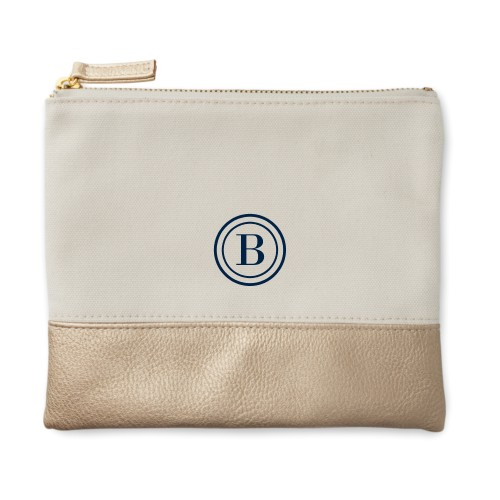 Circle Frame Canvas Pouch, Metallic Gold, Small Pouch, White