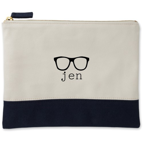 Cool Frames Canvas Pouch, Navy, Large Pouch, White