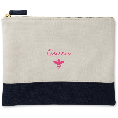 Queen Bee Canvas Pouch, Navy, Large Pouch, White